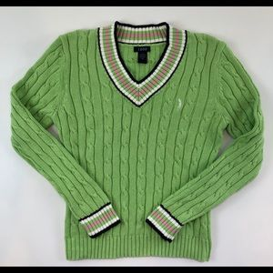 Izod Long Sleeve Chunky Preppy V neck Sweater Med